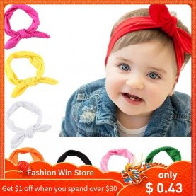 Cute Kids Girls Headband Rabbit Bow Ear Hairband Headwear Hot Sale Turban Knot Head Wraps Children Casual Apparel Accessories