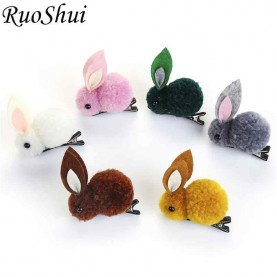 Korean Princess Hair Clips Cute Rabbit Elastic Hair Rubber Bands Winter Plush Bunny Hairpins Headband Girls Hair Accessories